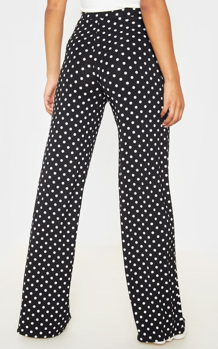 Black Polka Dot Basic Wide Leg Trouser 4