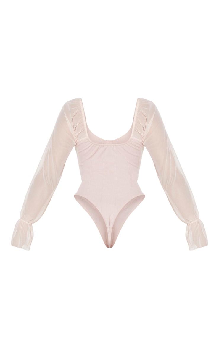 Blush Pink Rib Mesh Sleeve Bodysuit 6