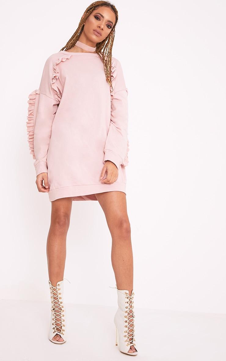 Islaa Nude Frill Detail Sweater Dress 1