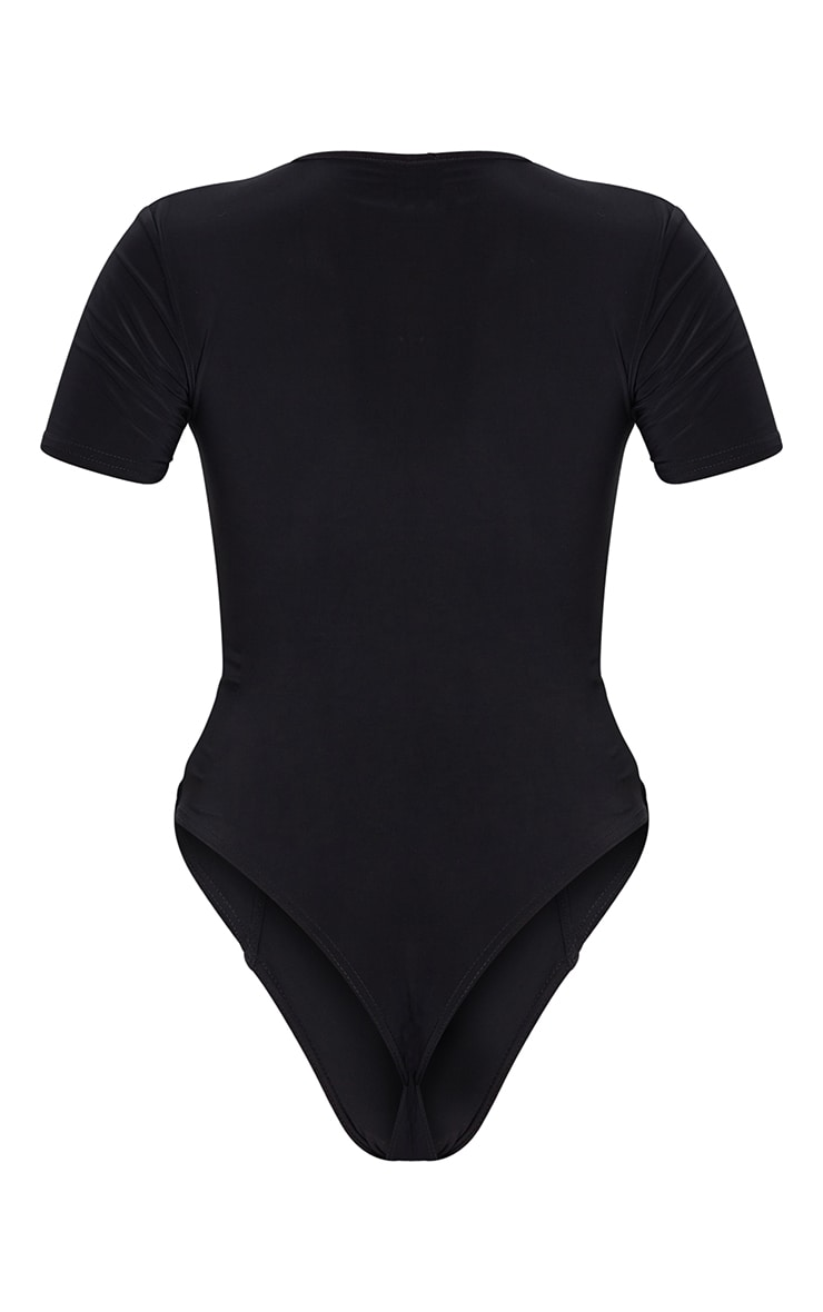 Body manches courtes en jersey noir à liserés buste 6