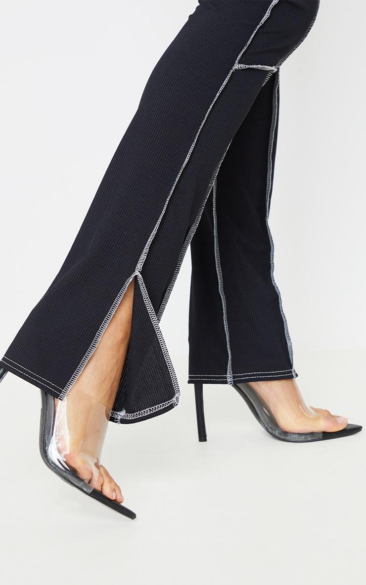 Black Rib Contrast Seam Detail Split Hem Skinny Trousers 4