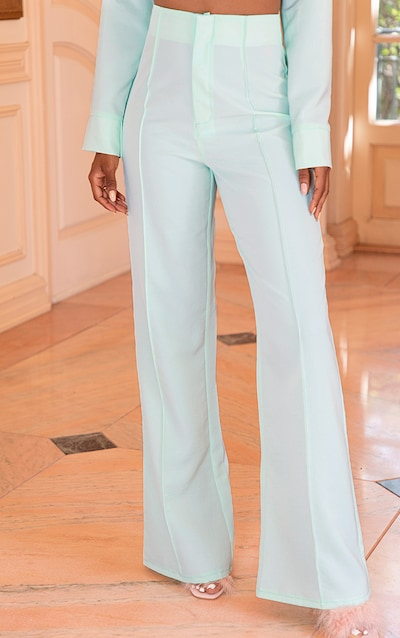 Mint Woven Seam Detail Straight Leg Trouser