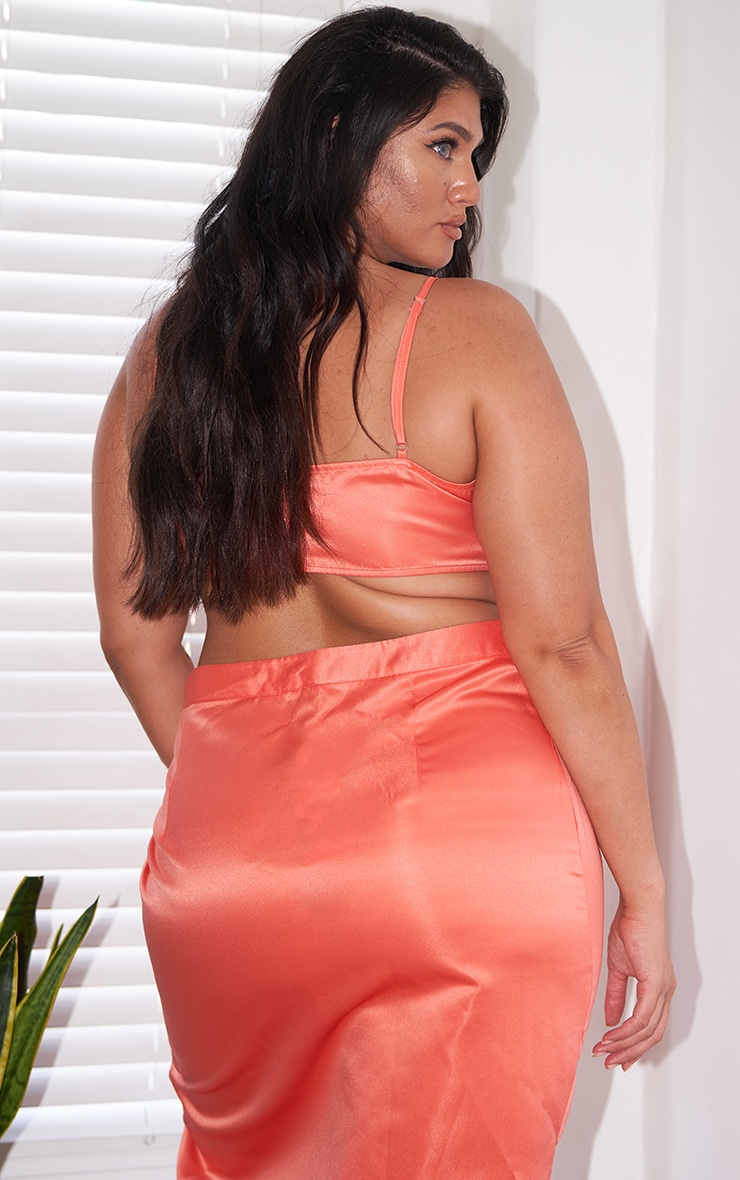 Plus Peach Satin Strappy Cropped Top 2
