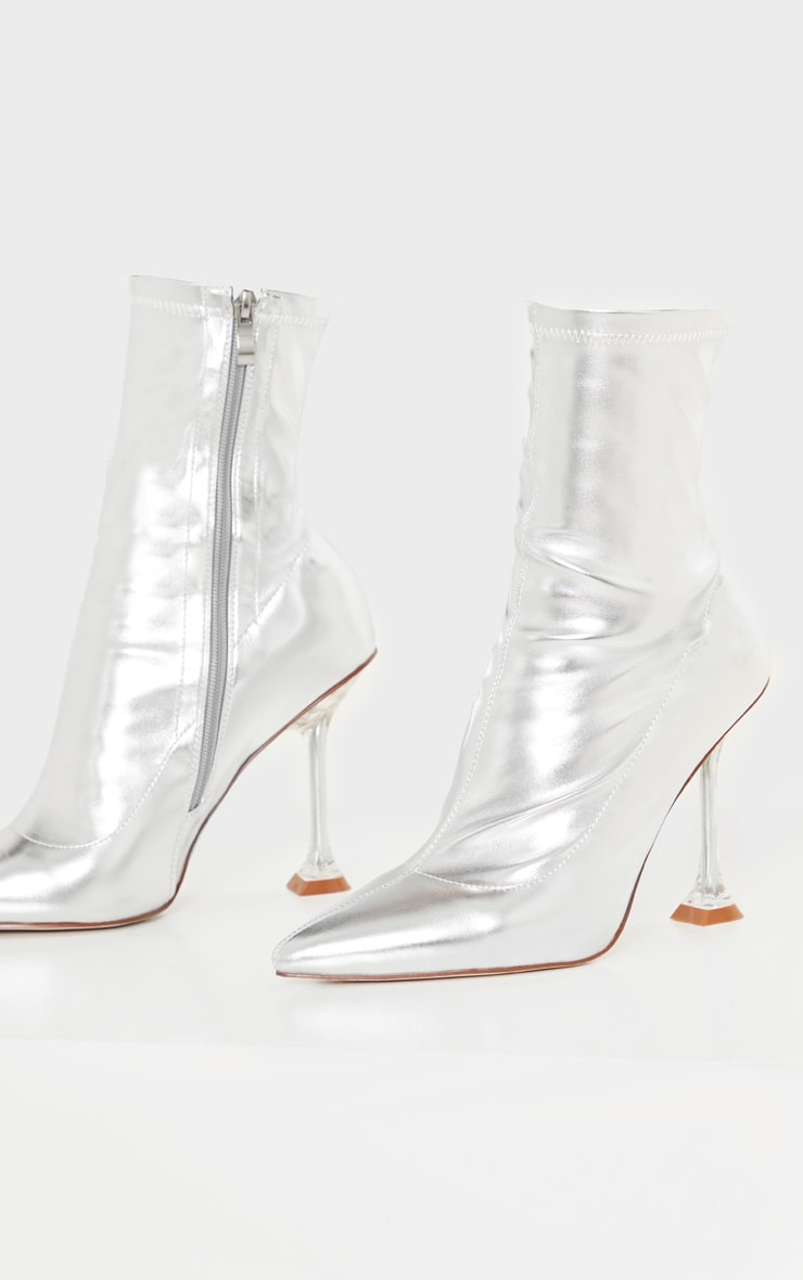 Silver Cake Stand Clear Heel Sock Boot 4
