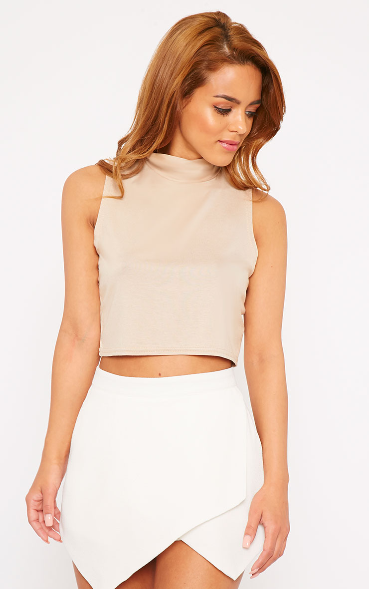 Basic Stone Jersey High Neck Crop Top 4