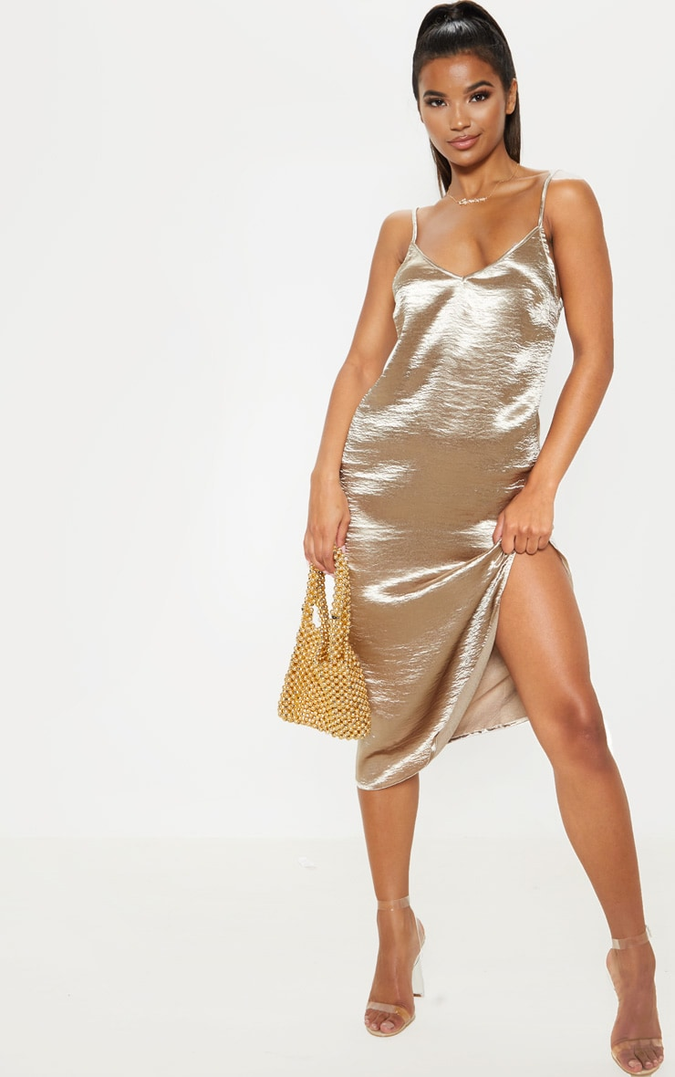 Taupe Hammered Satin Midi Dress 1