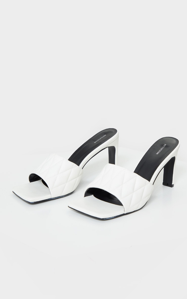 White Extreme Square Toe Quilted Strap Mule Heel 3