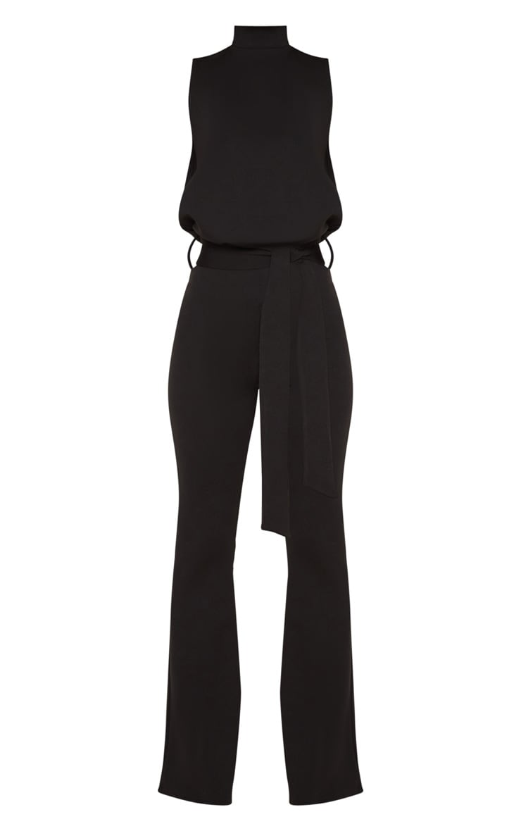 Petite Black Scuba High Neck Tie Waist Jumpsuit 3