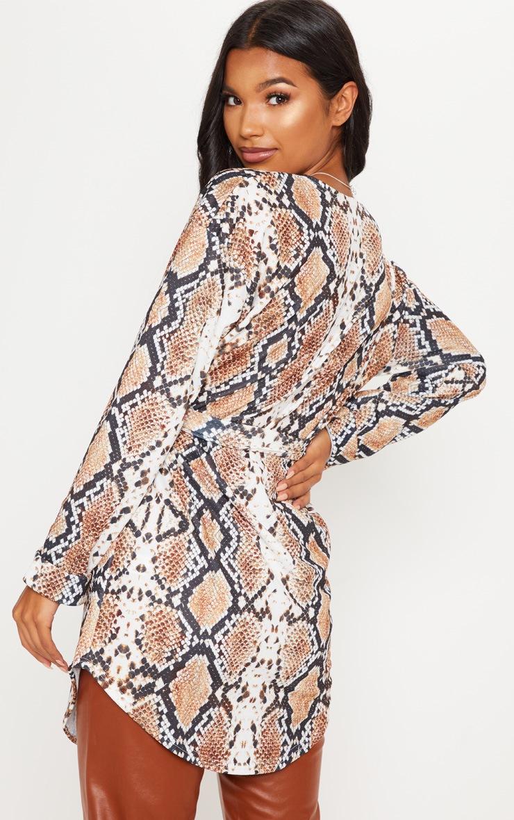 Snake Print Tie Waist Blazer  2