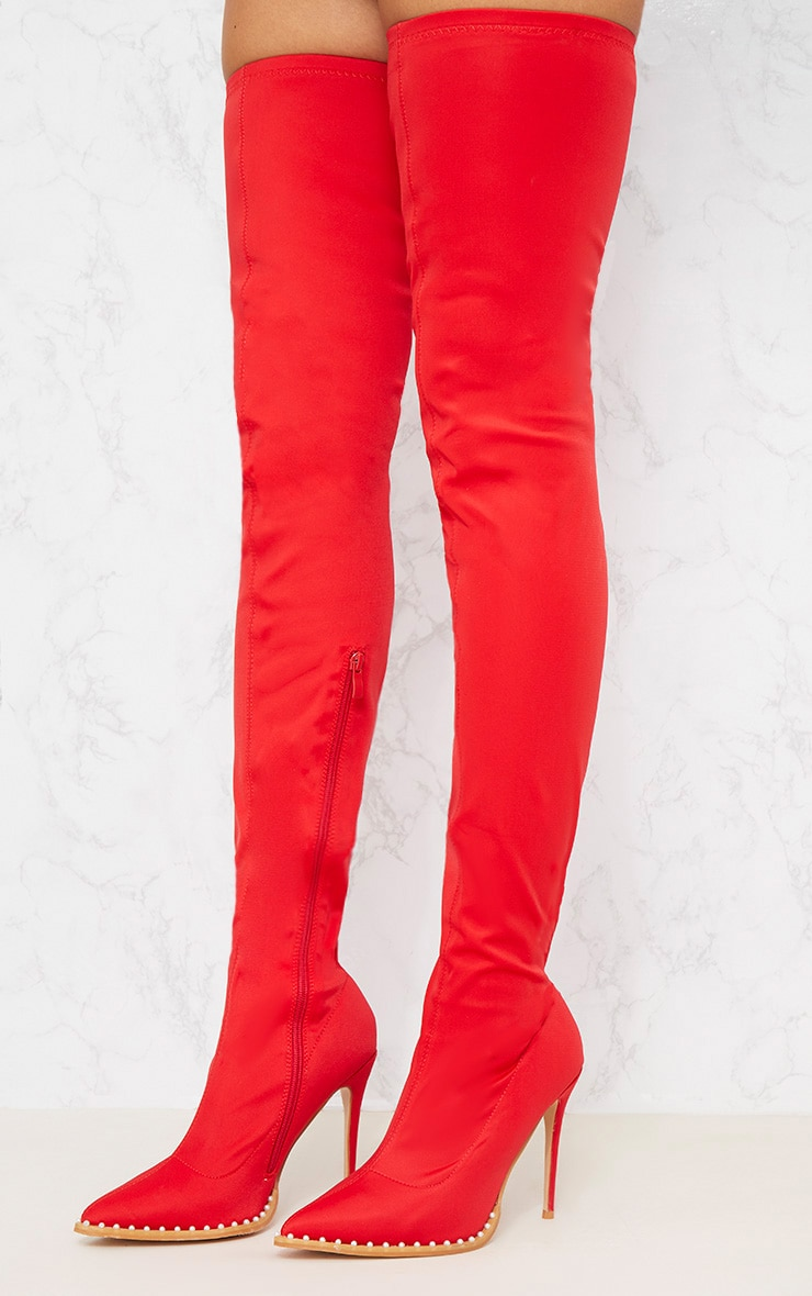 Red Neoprene Pearl Embellished Thigh High Boot 2