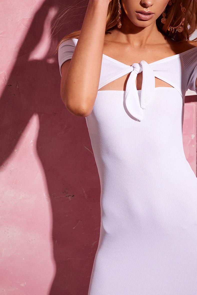 White Bardot Tie Detail Ribbed Bodycon Dress 5