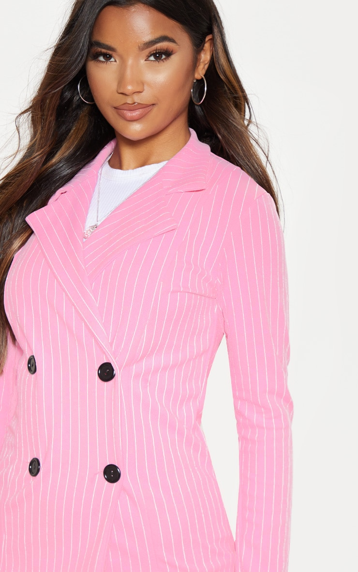 Pink Pinstripe Double Breasted Blazer 5