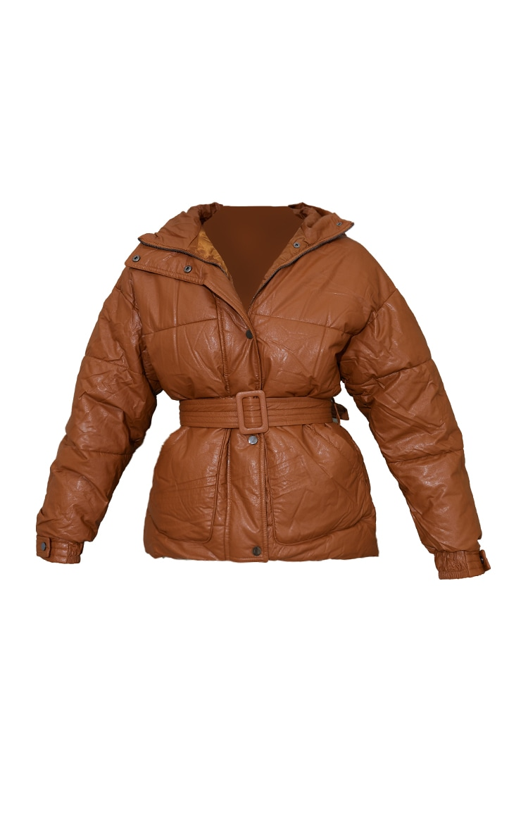 Tan Faux Leather Oversized Belted Hooded Puffer 5