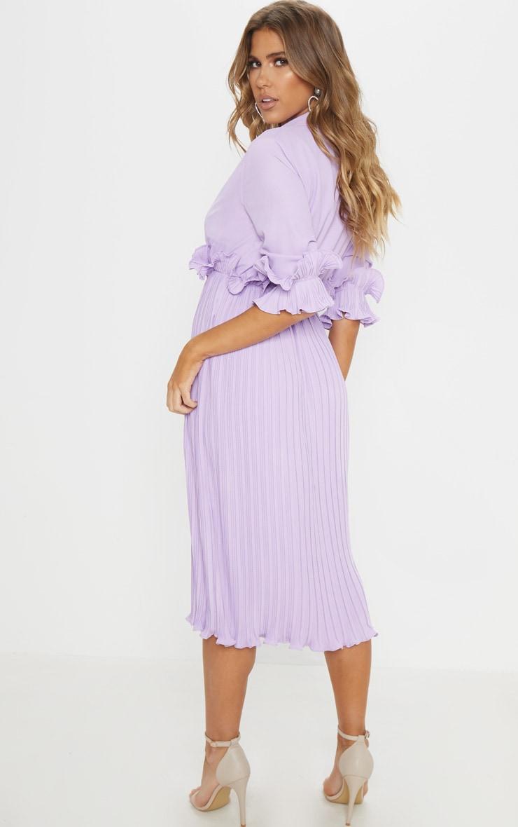 Lilac Frill Detail Pleated Midi Dress 2