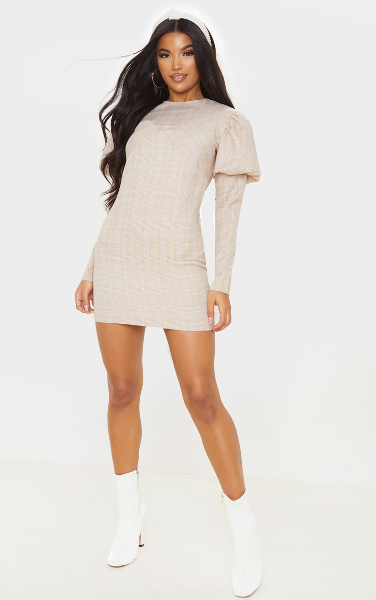 Beige Check Long Sleeve Puff Shoulder Bodycon Dress 4