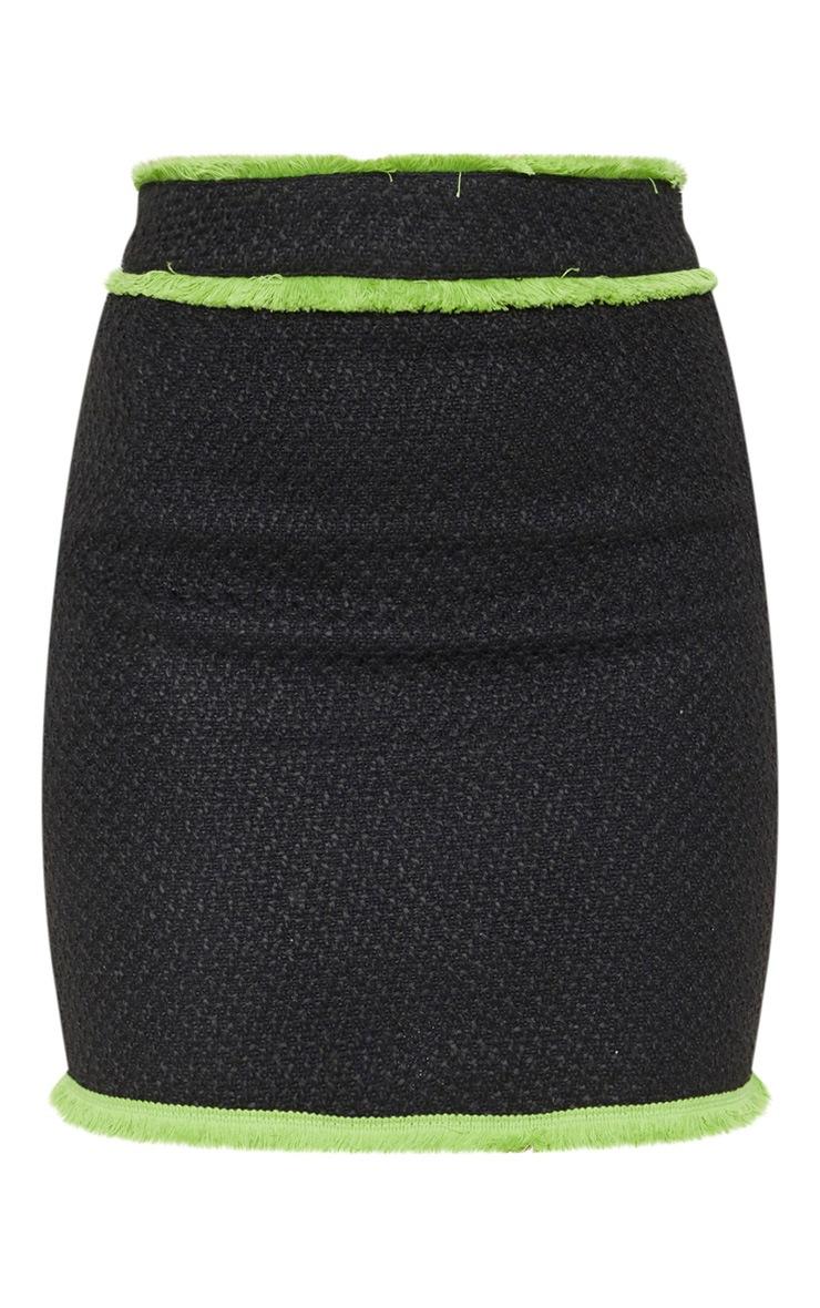 Petite Black Boucle Fringed Mini Skirt 3