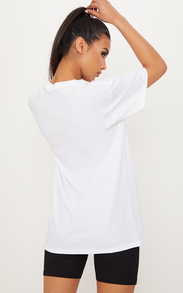 White Chinese Slogan Oversized T Shirt  2