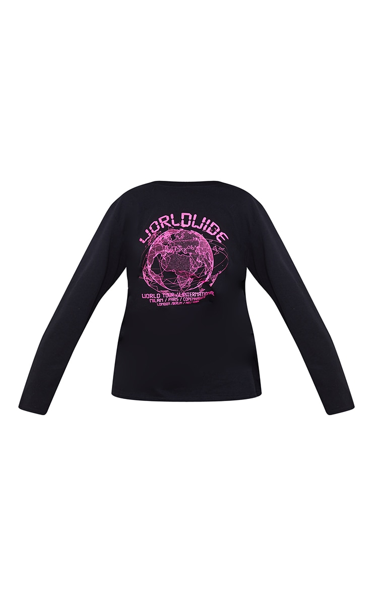 Black Worldwide Printed Long Sleeve T Shirt 5