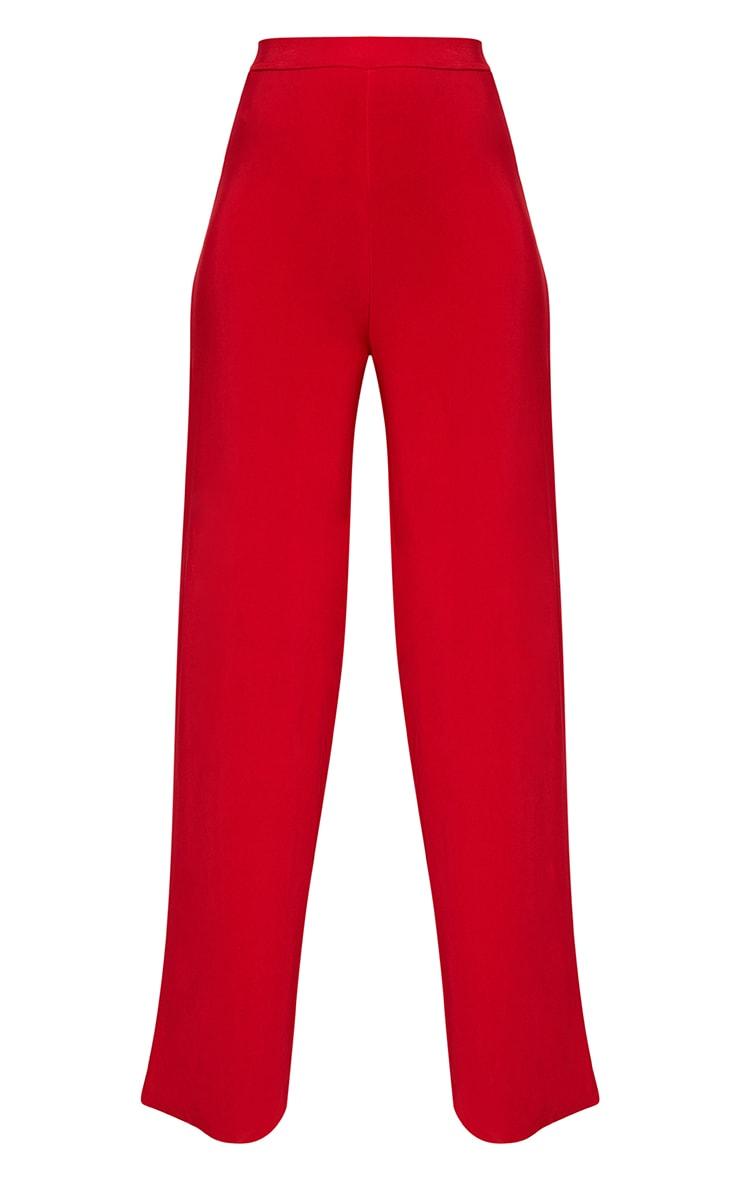 Red Side Split Slinky Trousers  3