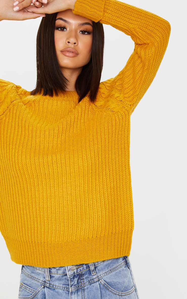 Mustard Cable Shoulder Chunky Knitted Sweater 4