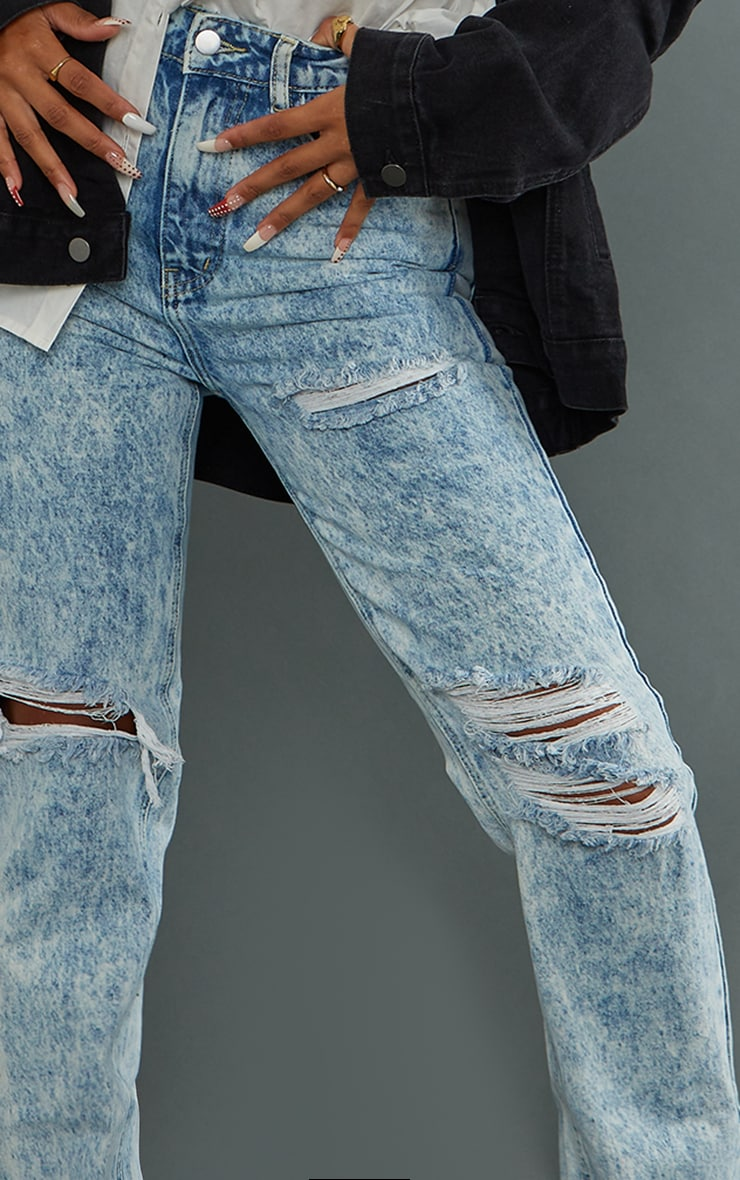 PRETTYLITTLETHING Acid Wash Ripped Long Leg Straight Jeans 4