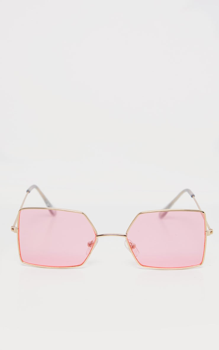 Pink Retro Square Sunglasses 2