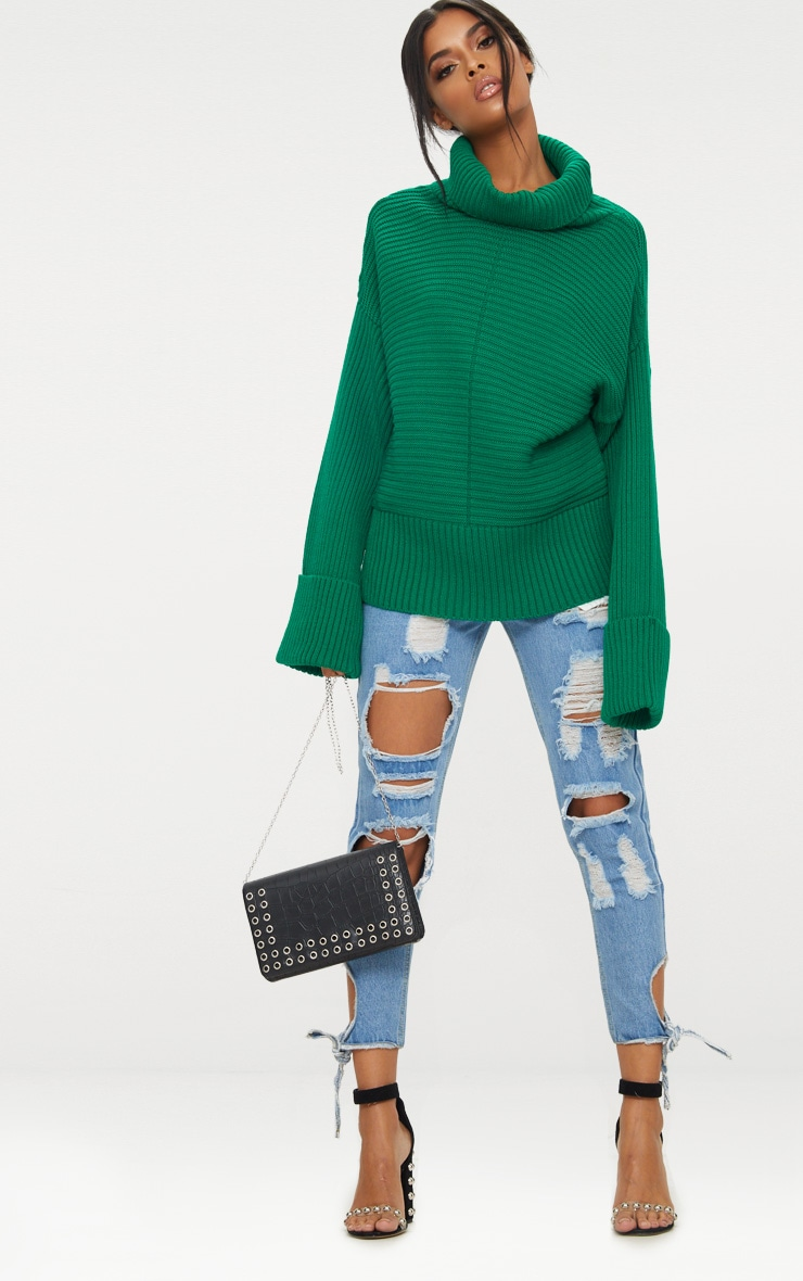Emerald Green Extreme Sleeve Roll Neck Jumper 4