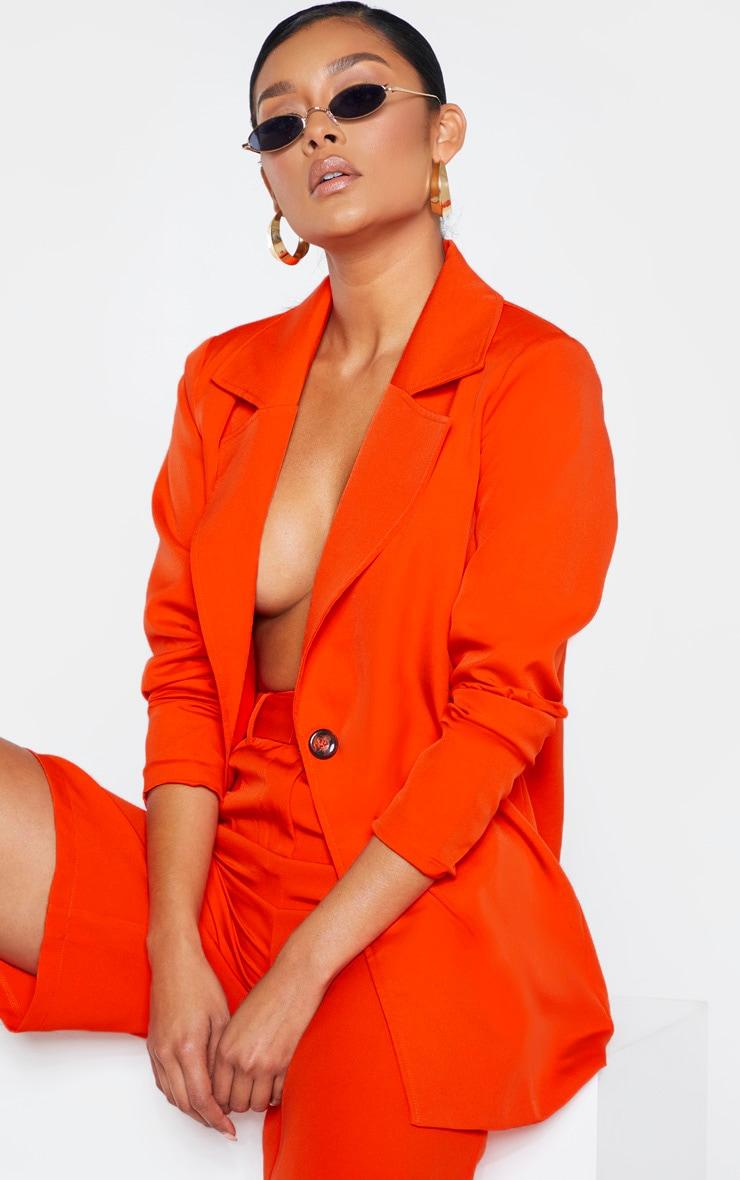 Bright Orange Woven Blazer    1