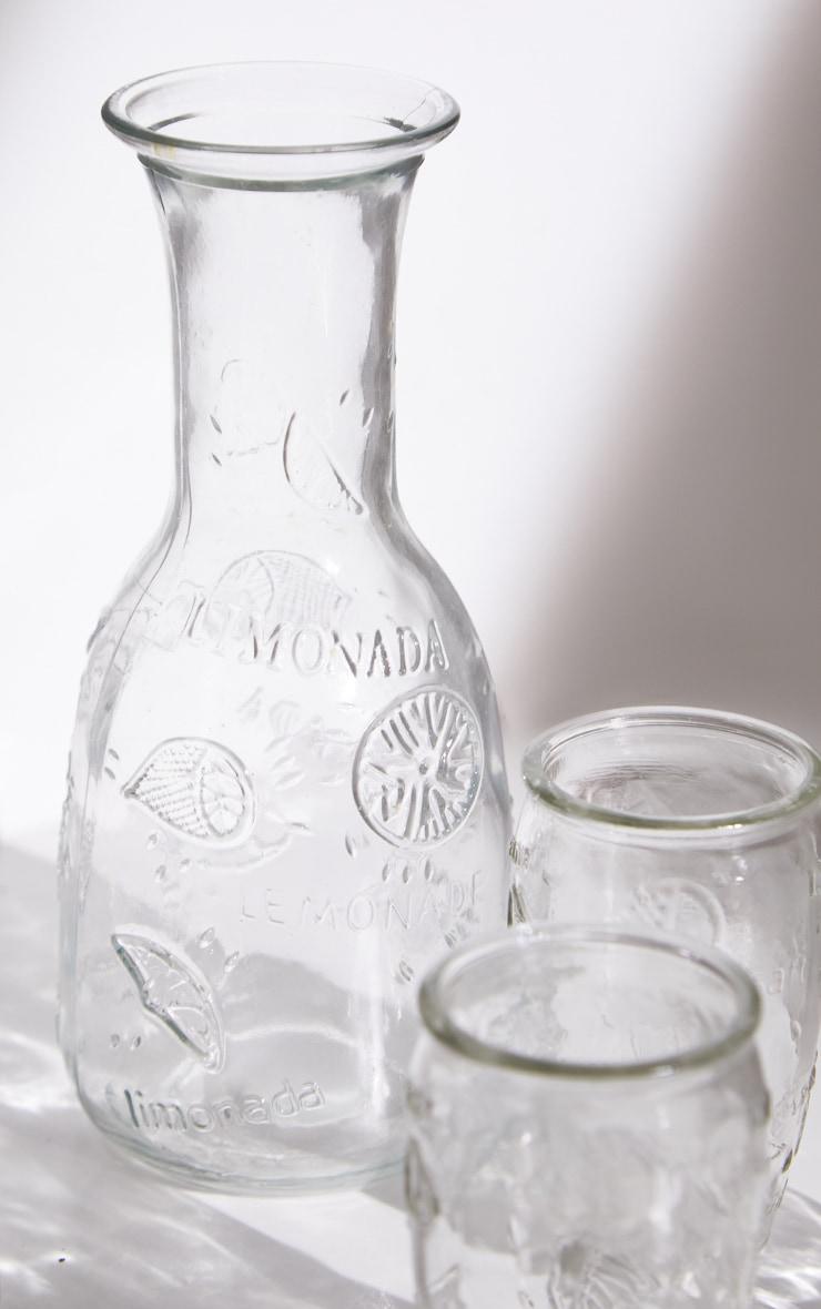 Clear Embossed Carafe & Glasses Set 6