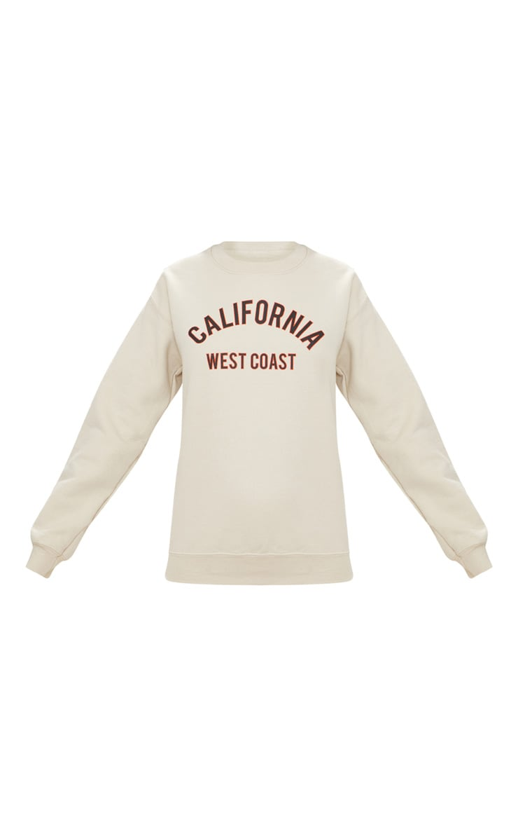 Sand California Slogan Oversized Sweater  3