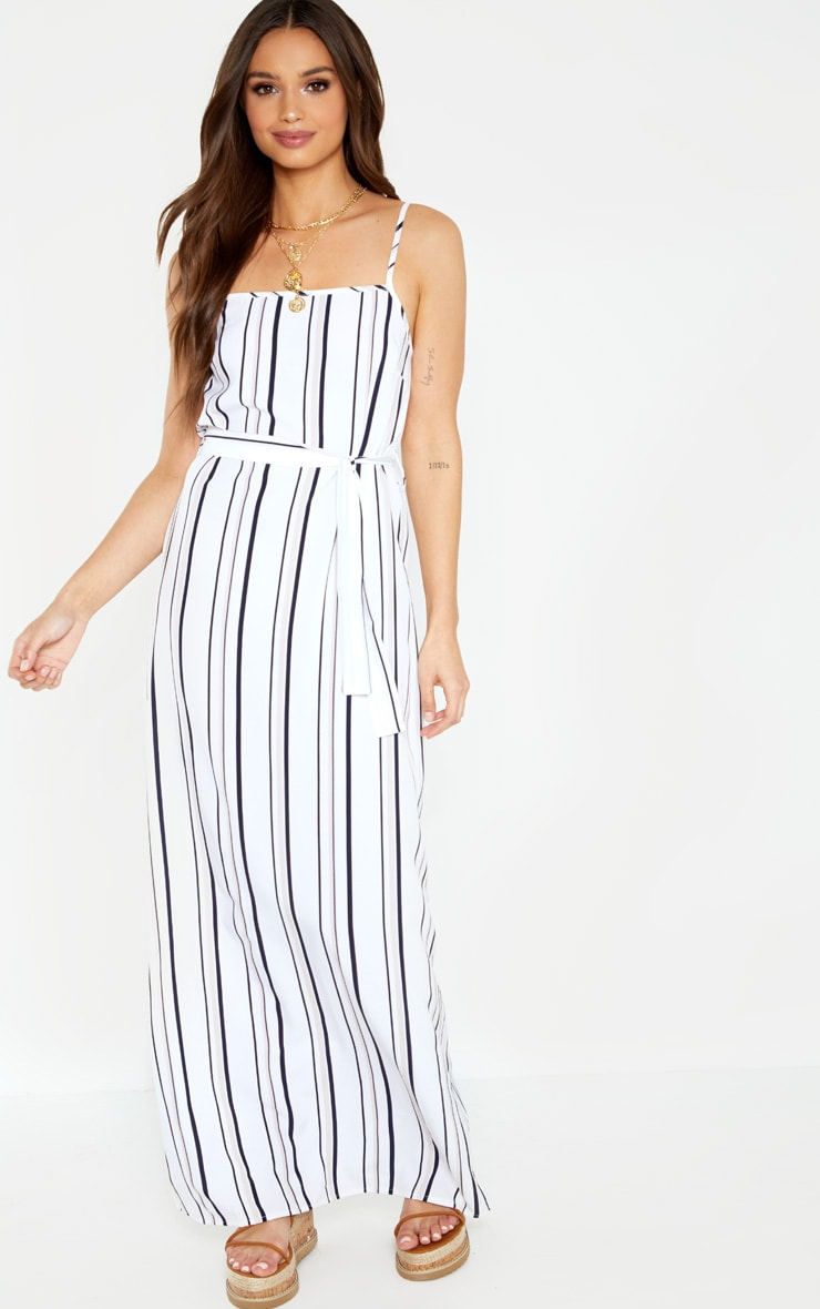 Blue Stripe Square Neck Tie Waist Maxi Dress 4