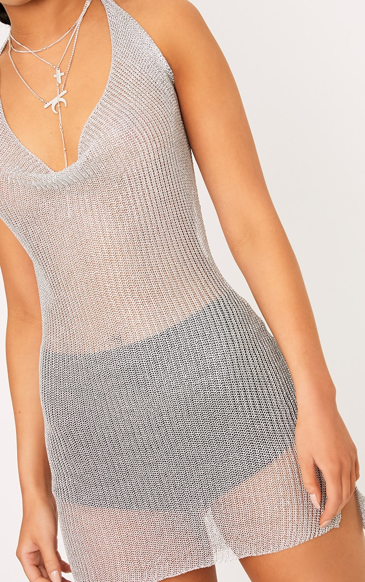 Jaz Silver Metallic Knit  Cowl Neck Mini Dress 5