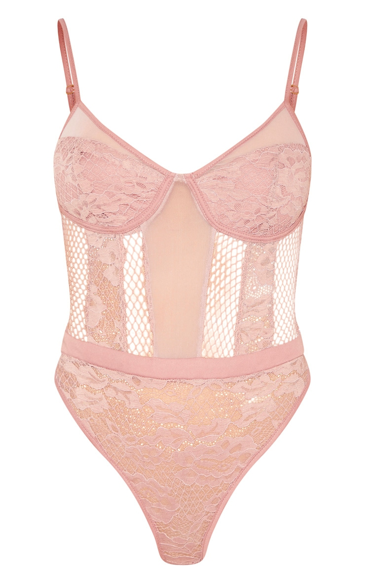 Mauve Sheer Lace Cupped Bodysuit 3