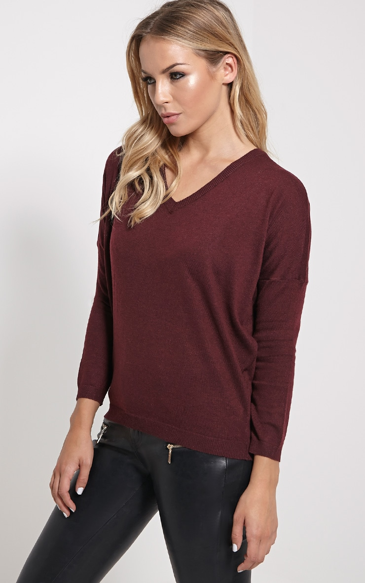 Mirari Burgundy Fine Knit Jumper 1