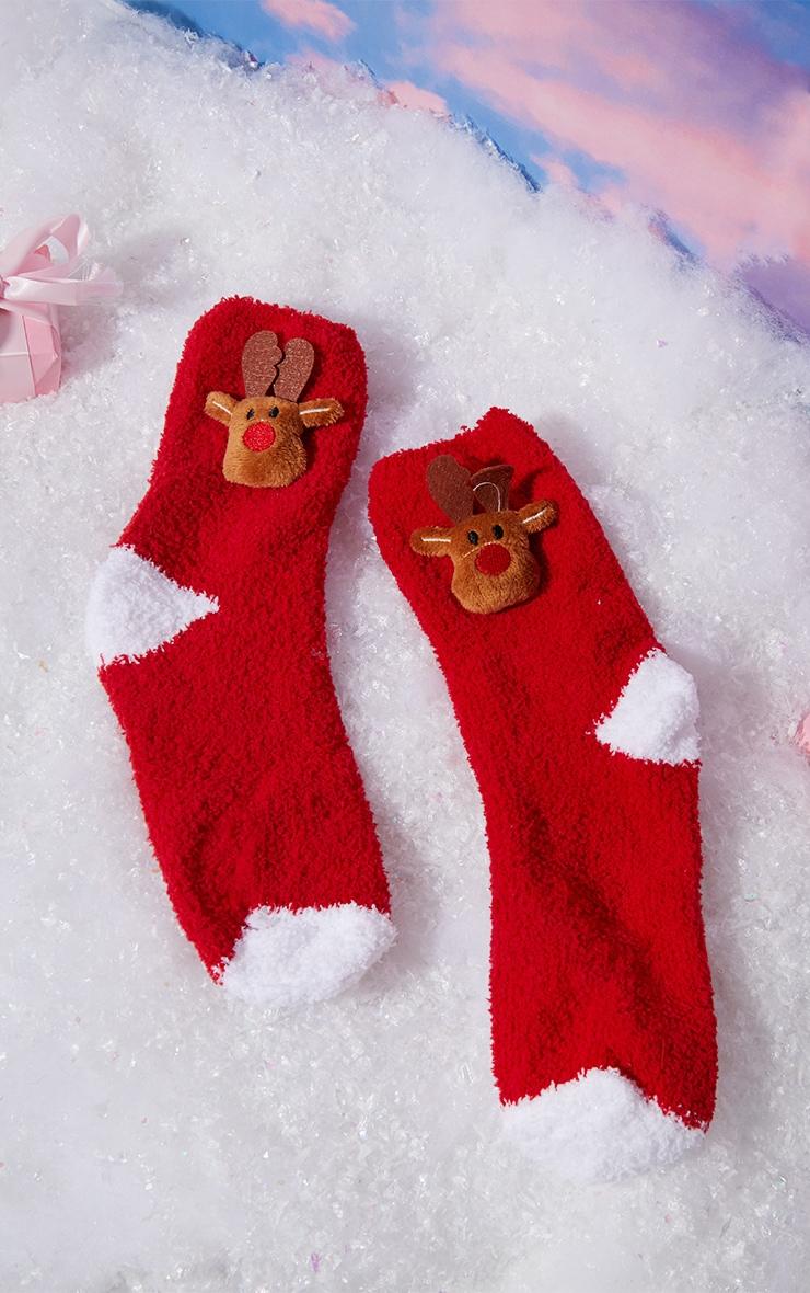 Red Reindeer Sleep Socks In A Box Gift 1