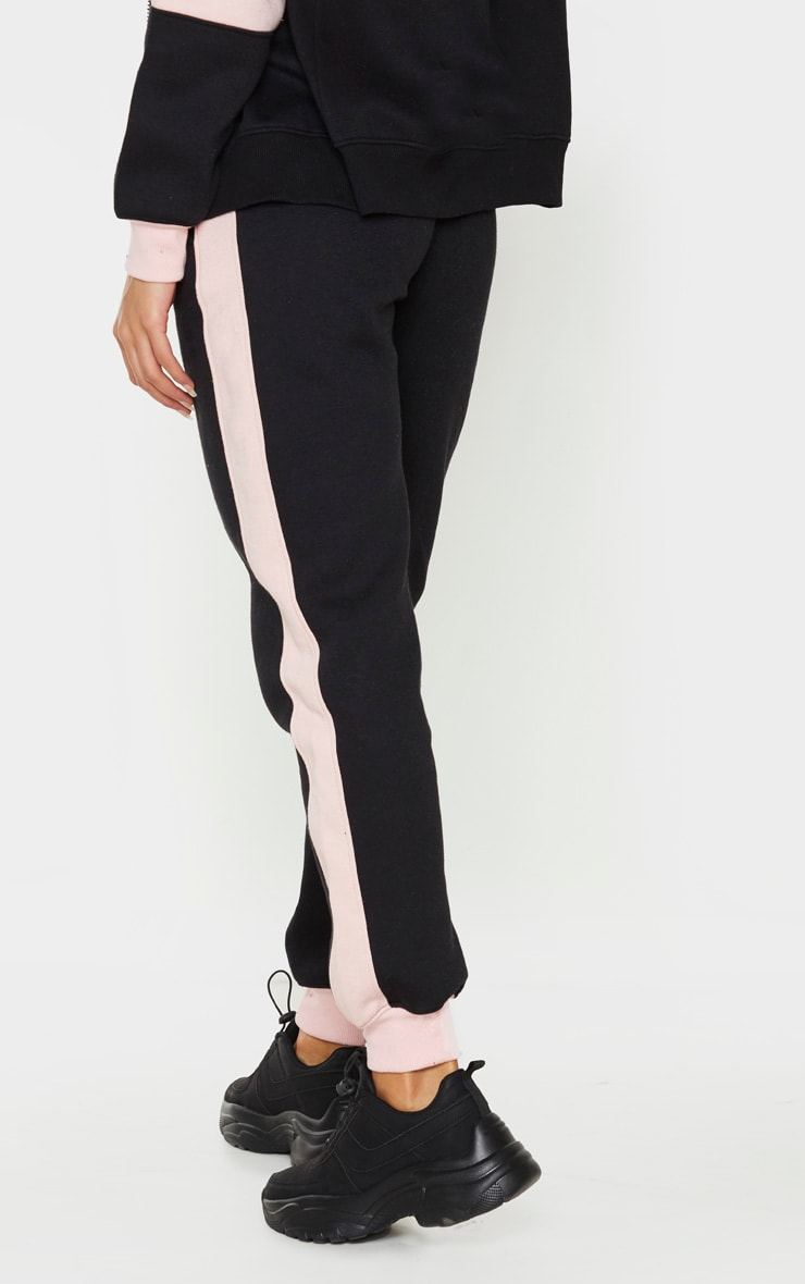 Pink Contrast Side Panel High Waisted Joggers 3