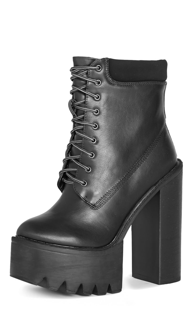 Imani Black Lace Up Cleated Heel Boot 4