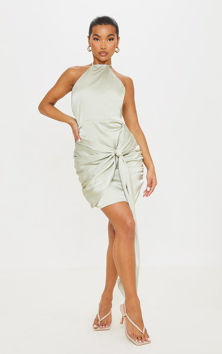 Sage Green Satin Halterneck Ruched Drape Detail Bodycon Dress 3
