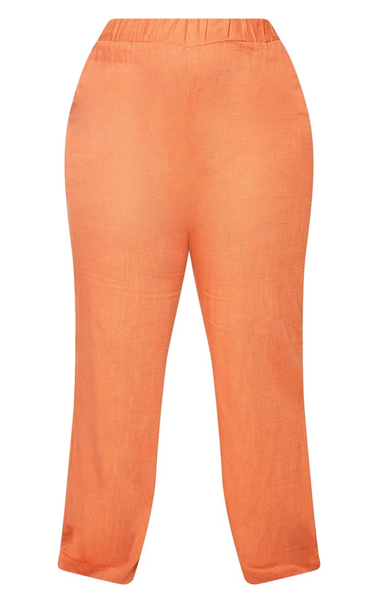 Plus Burnt Orange Elasticated Waist Wide Leg Pants 5