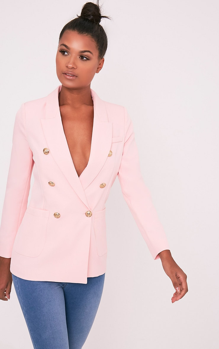 Pari Pink Double Breasted Military Style Blazer
