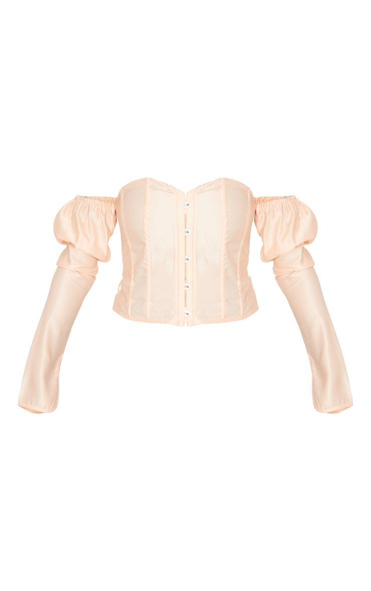 Blush Pink Satin Long Sleeve Bardot Corset Top 3
