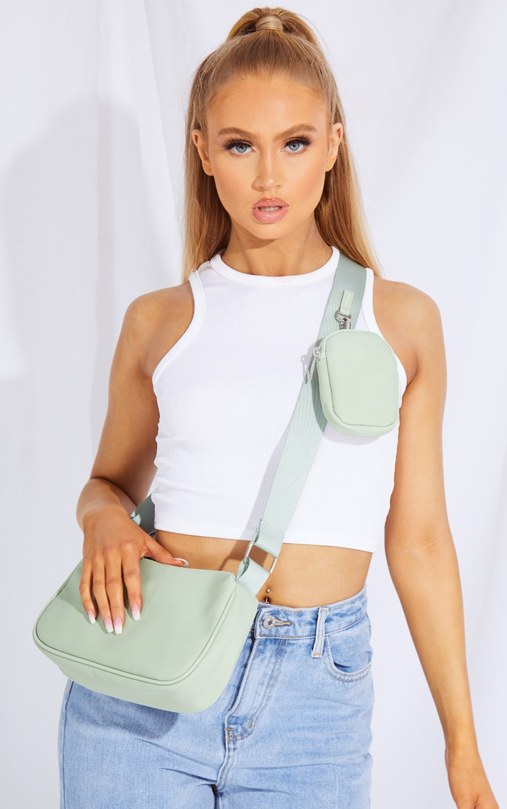 Sage Green Multi Pocket Cross Body Bag 1