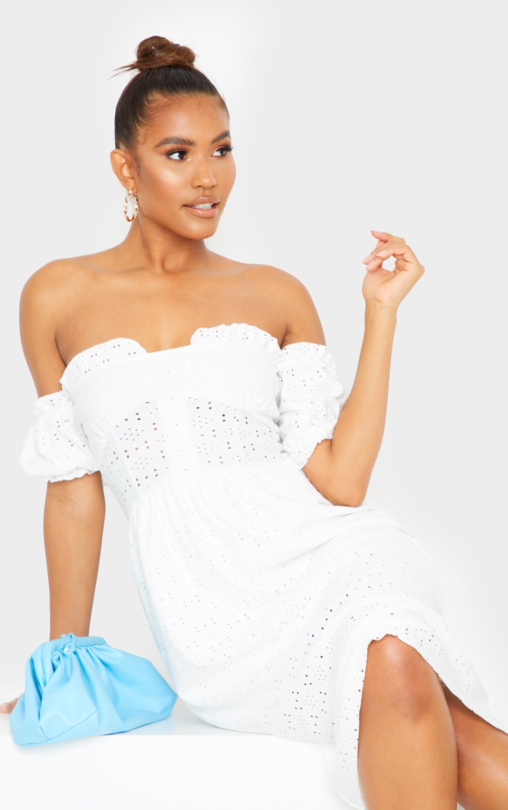 White Broderie Anglaise Cup Detail Bardot Midi Dress 4