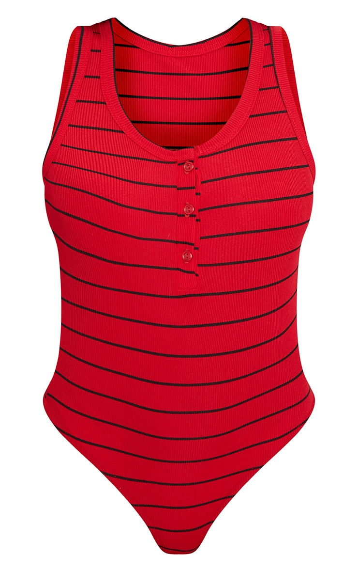 Red Stripe Jersey Button Front Bodysuit  3