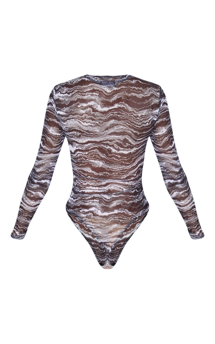 Black Waves Printed Mesh Crew Neck Long Sleeve Bodysuit 4