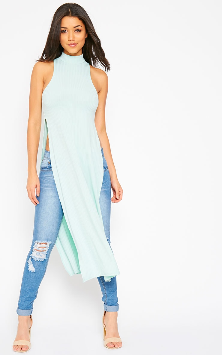Aaralyn Mint Ribbed Side Split Dress 1