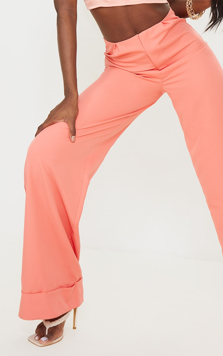 Tall Coral Woven Turn Up Hem High Waisted Pants 4