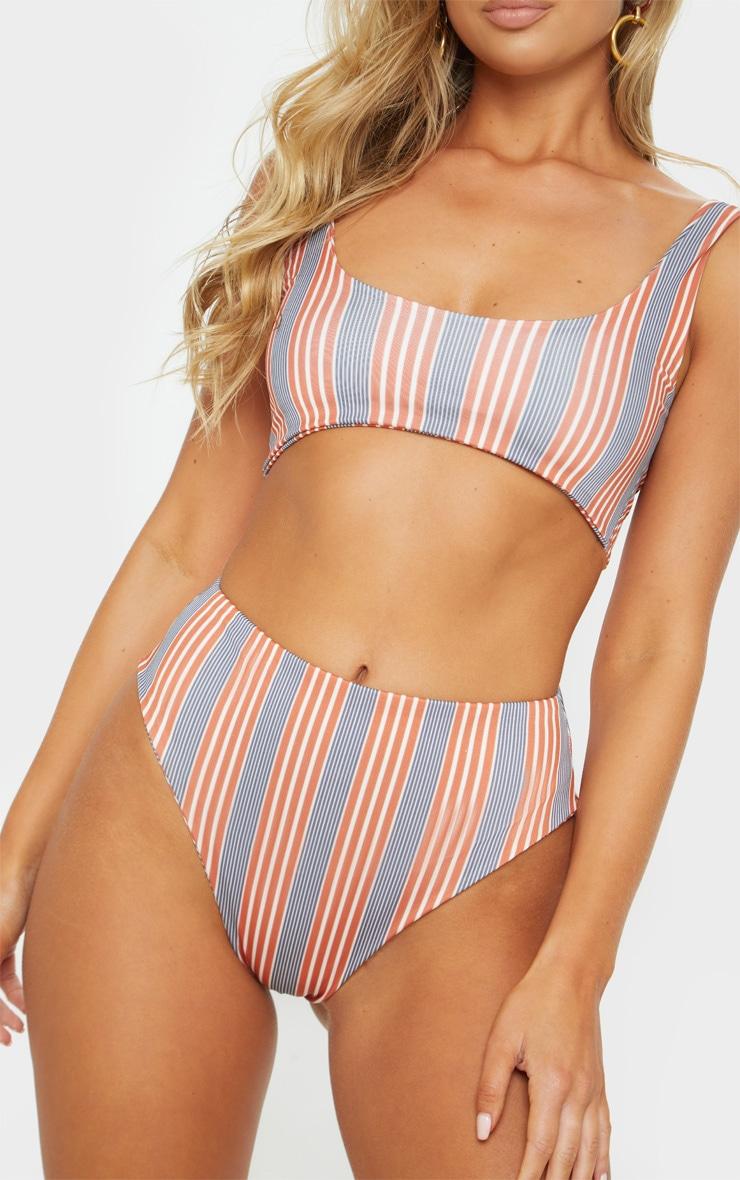 Brown Double Stripe High Waisted Bikini Bottom 2