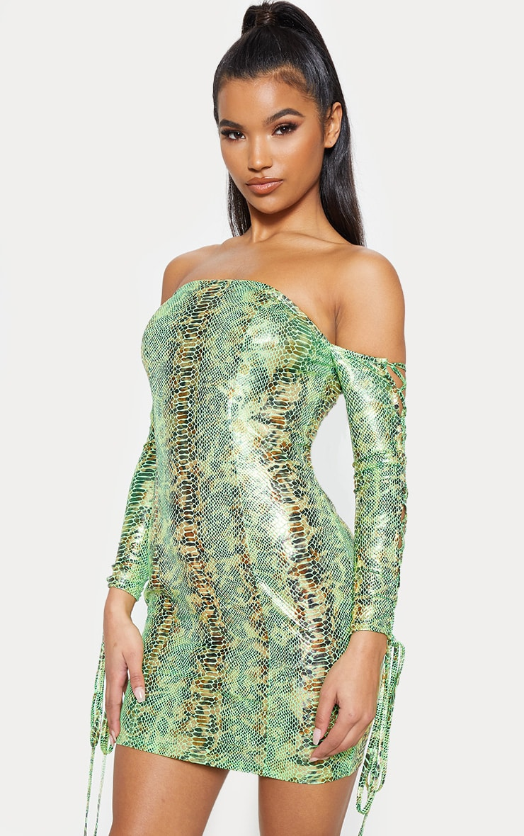 Neon Green Metallic Snake Bardot Bodycon Dress 2