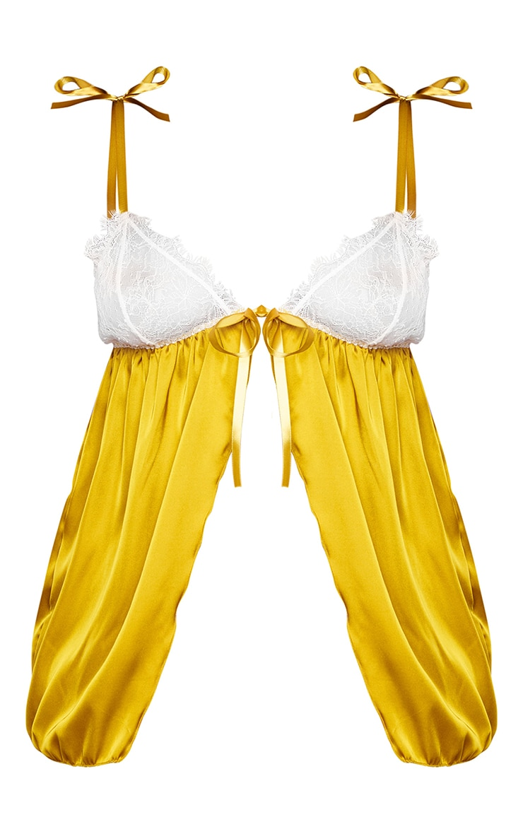 Plus Chartreuse Contrast Lace Satin Babydoll and Thong Set 5